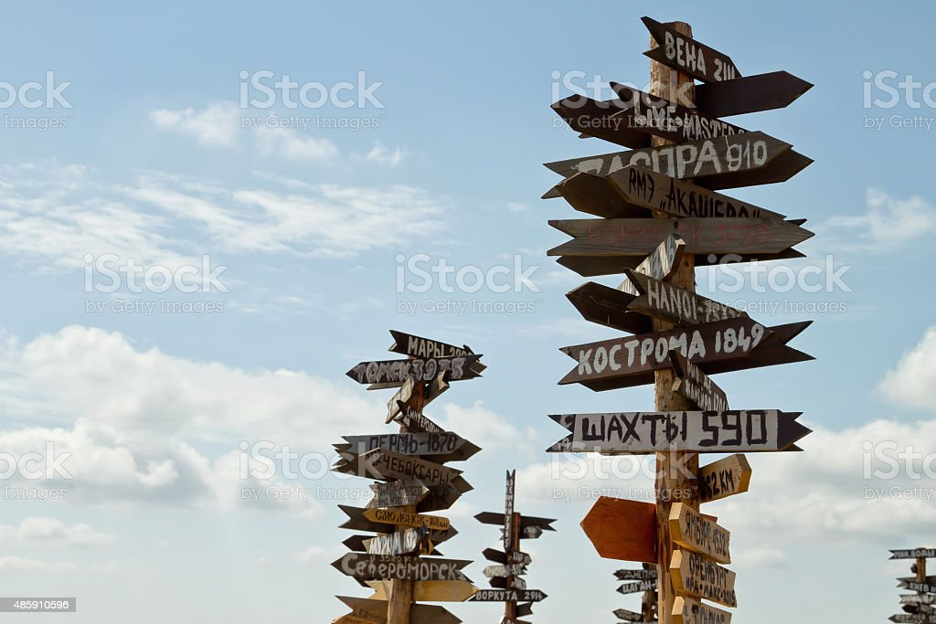 Pointers distances to different cities and tourist atop Mount Ma stock photo
