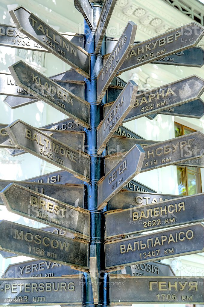Pointers with the names of cities stock photo