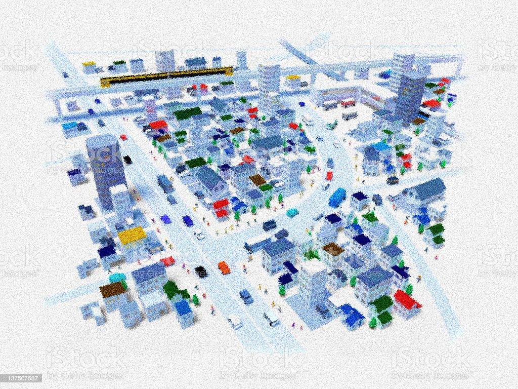Pointillism bird's-eye view of the city stock photo
