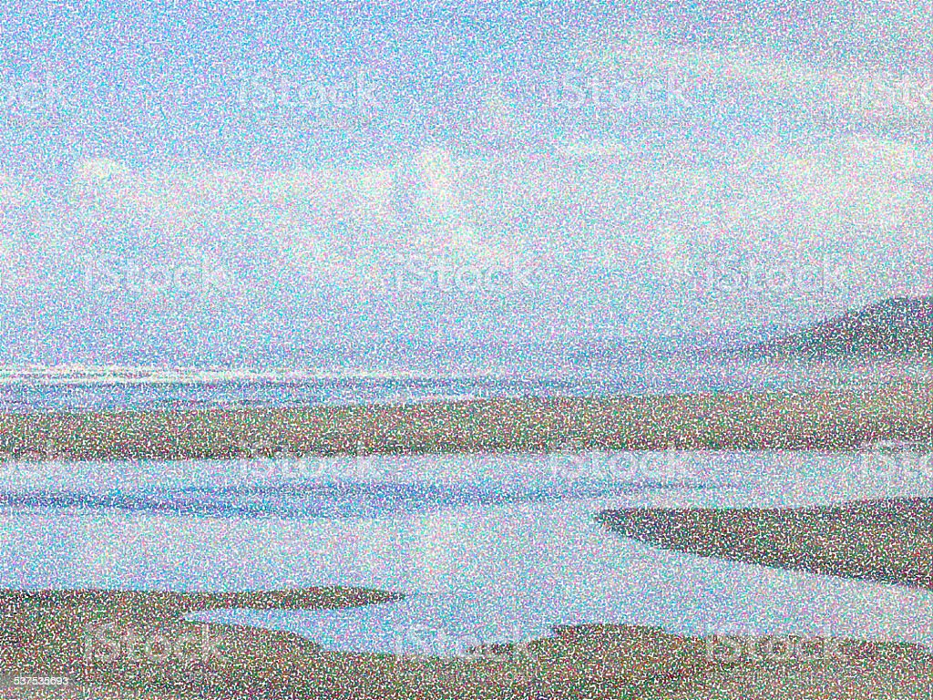 Pointillist ocean beach abstract in the Pacific Northwest stock photo