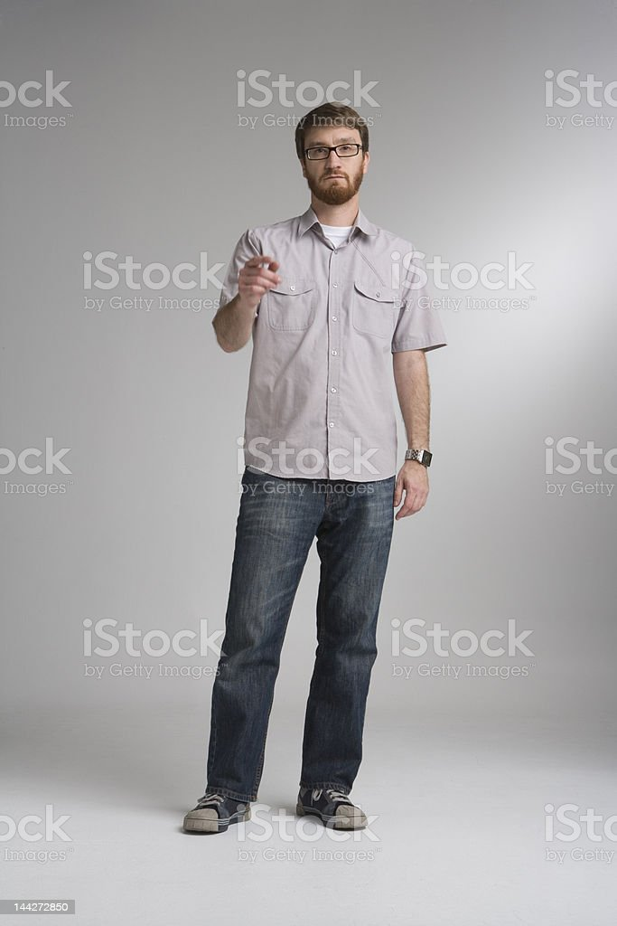 Pointing a finger royalty-free stock photo