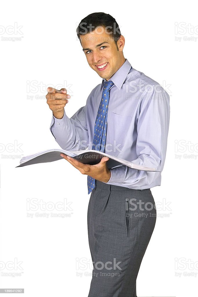 Pointing and smilling business man royalty-free stock photo