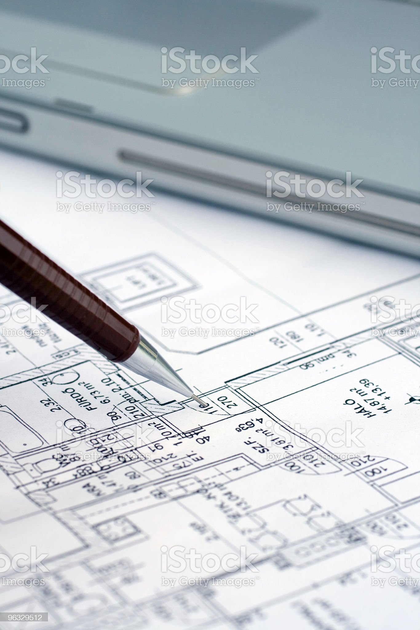 Pointing at a plan royalty-free stock photo
