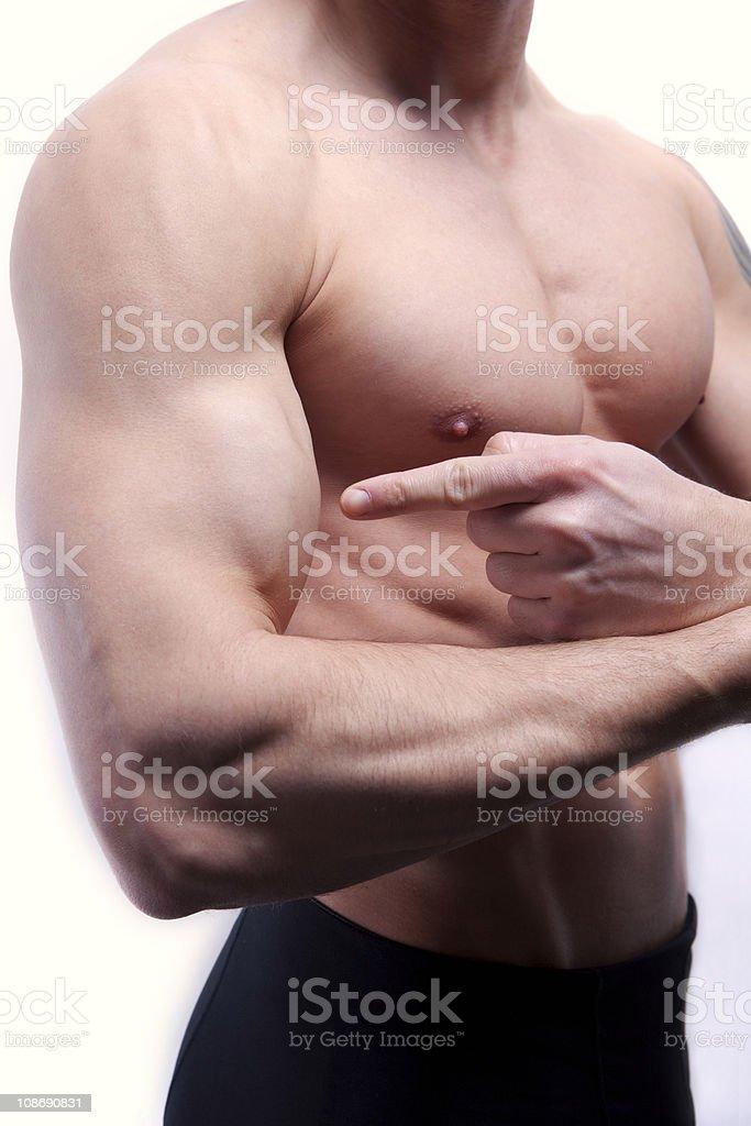 Pointing at biceps royalty-free stock photo