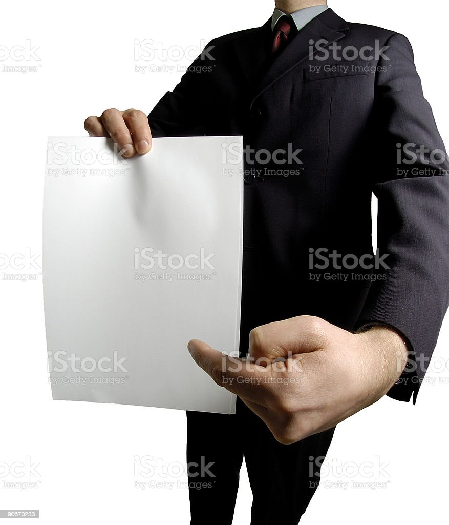 pointing at blank sign stock photo