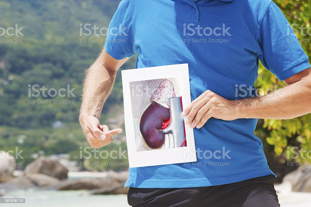 Pointing at kidney royalty-free stock photo