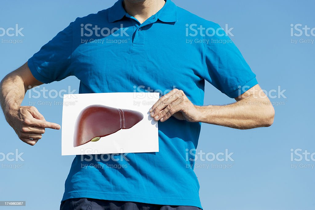 Pointing at liver stock photo