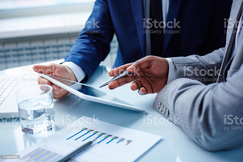 Pointing at touchpad royalty-free stock photo