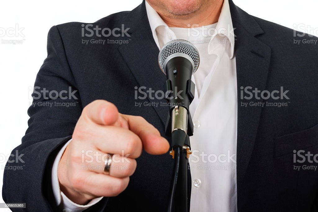 pointing at viewer stock photo