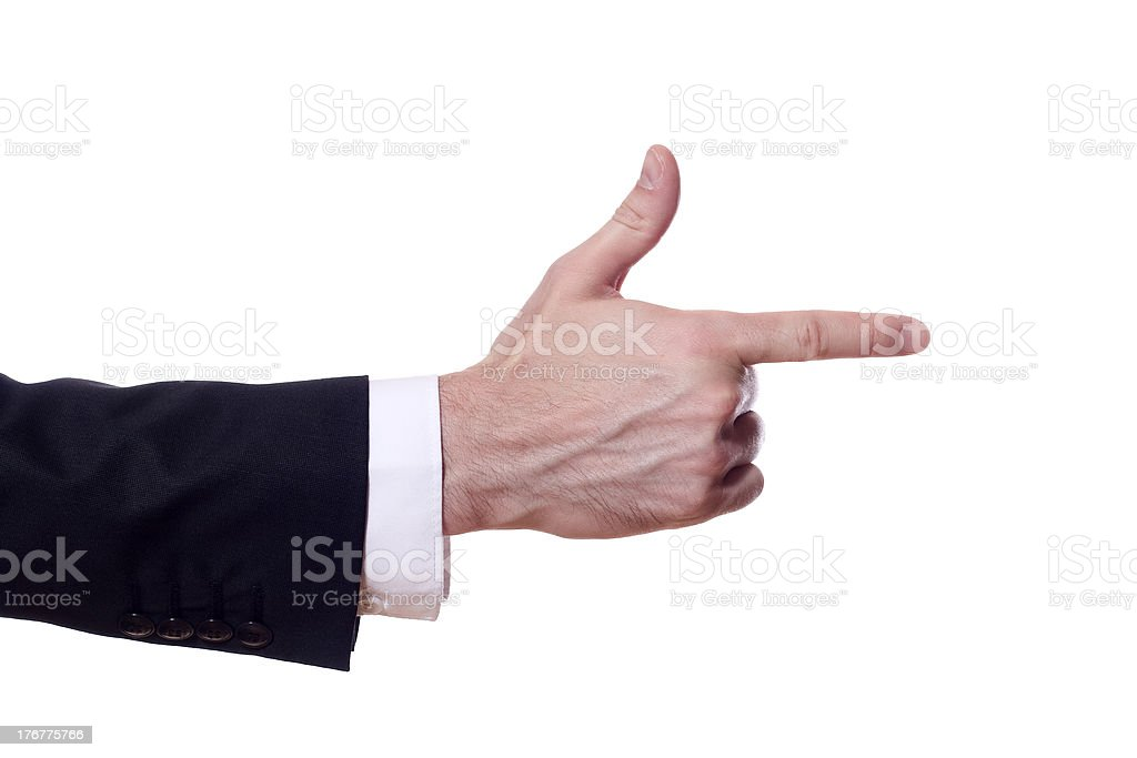 pointing business man hand, isolated on white background royalty-free stock photo
