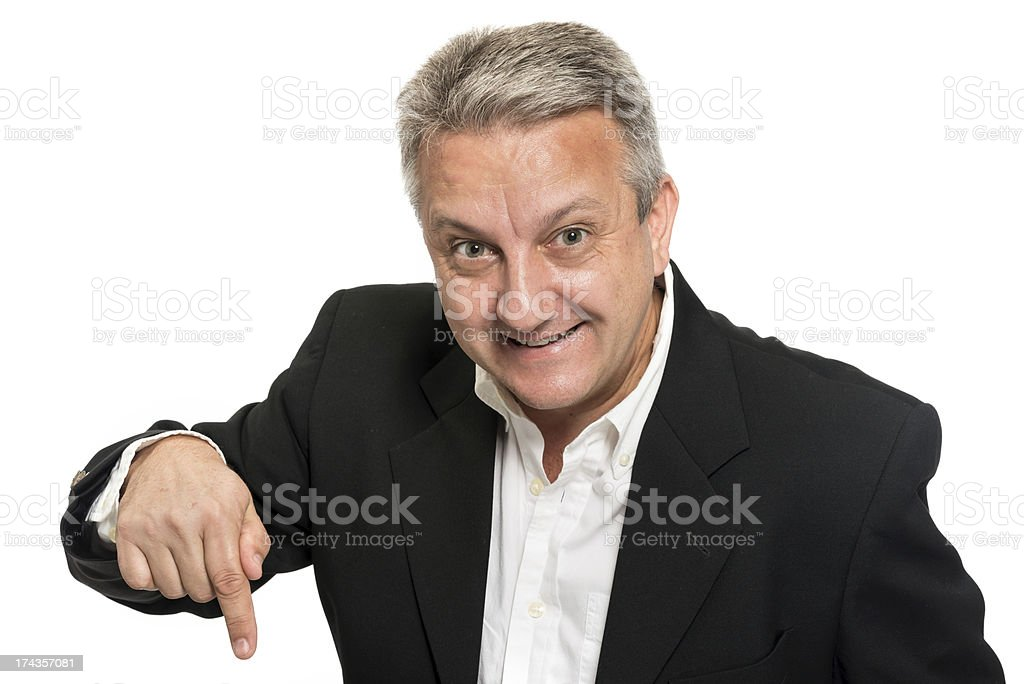 Pointing down stock photo