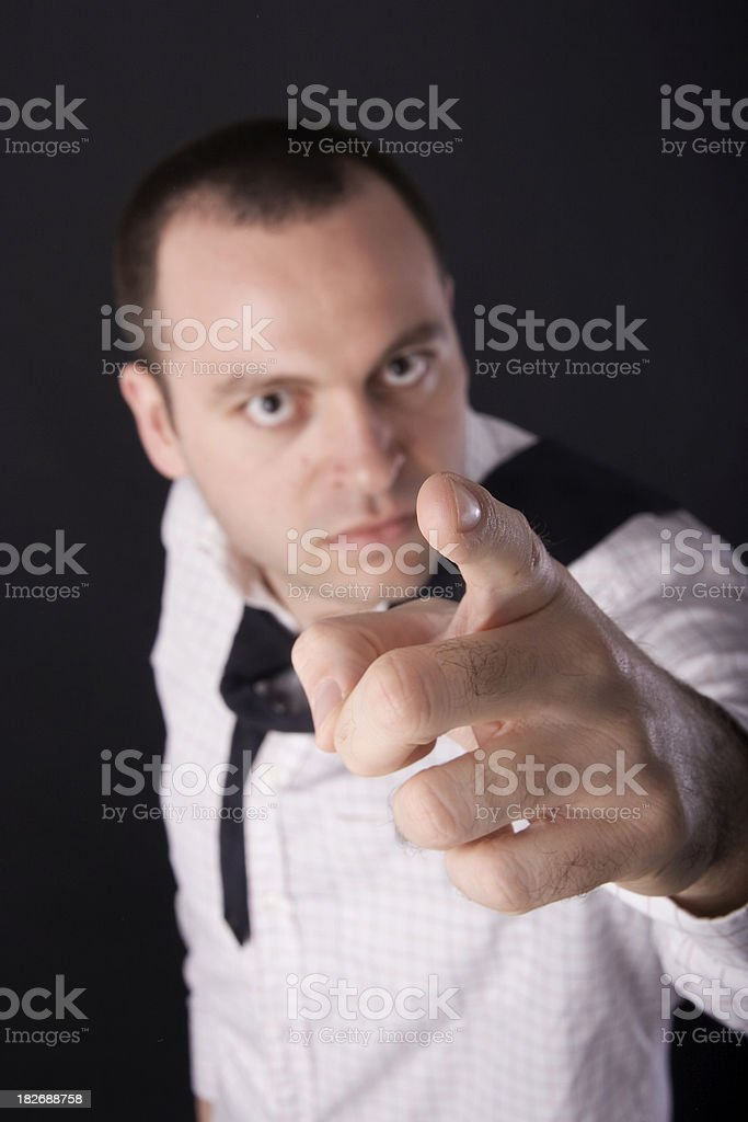 Pointing Fiercely royalty-free stock photo