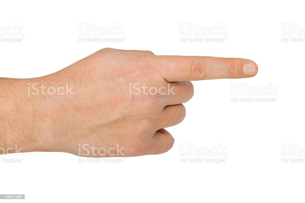 Pointing hand stock photo