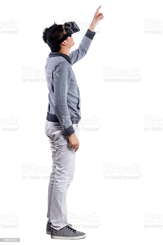 Pointing in Interactive Virtual Reality stock photo