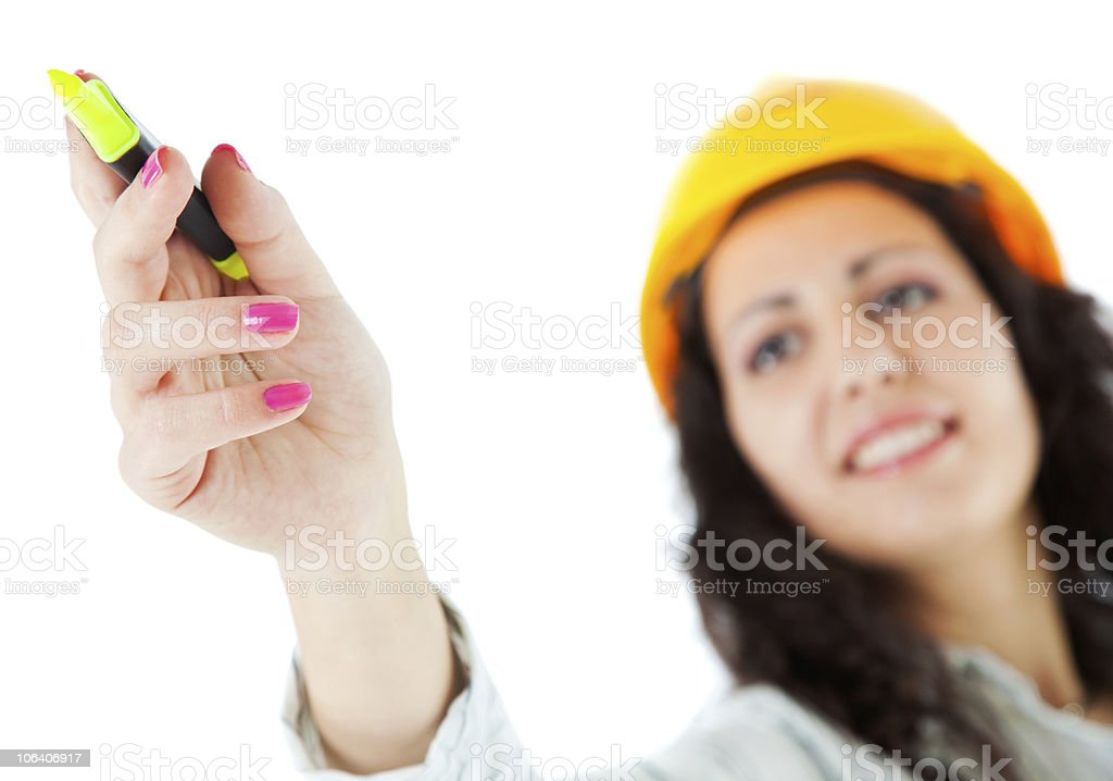 Pointing marker woman hardhat royalty-free stock photo