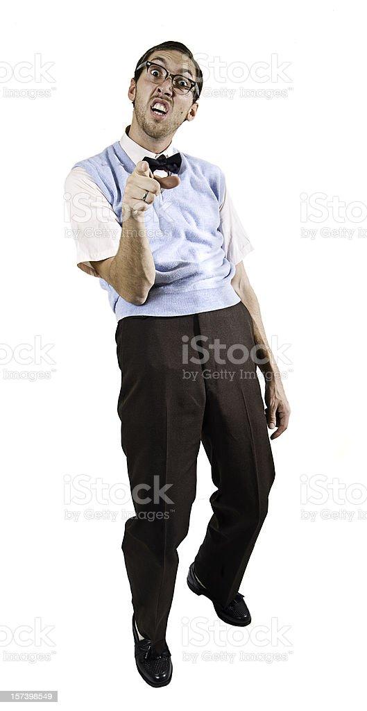 Pointing Nerd Guy Isolated on White royalty-free stock photo