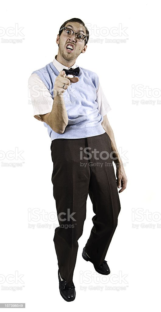 Pointing Nerd Guy Isolated on White stock photo
