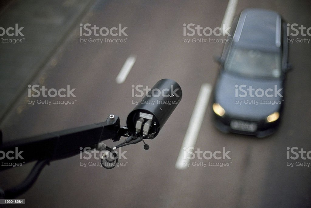 CCTV pointing on car - view from above, blurred background stock photo