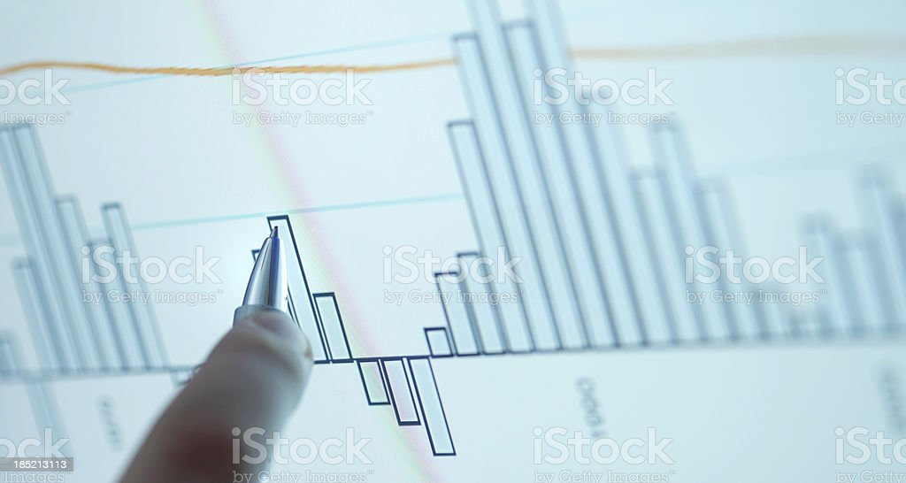 Pointing on computer chart royalty-free stock photo