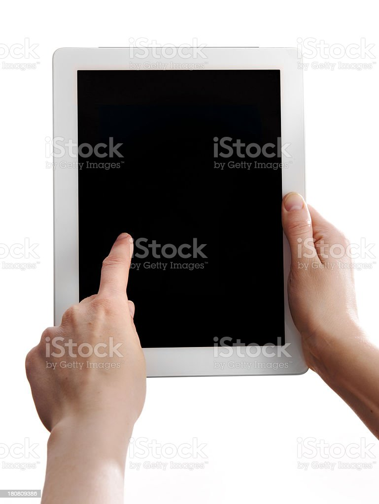 Pointing on Tablet screen royalty-free stock photo