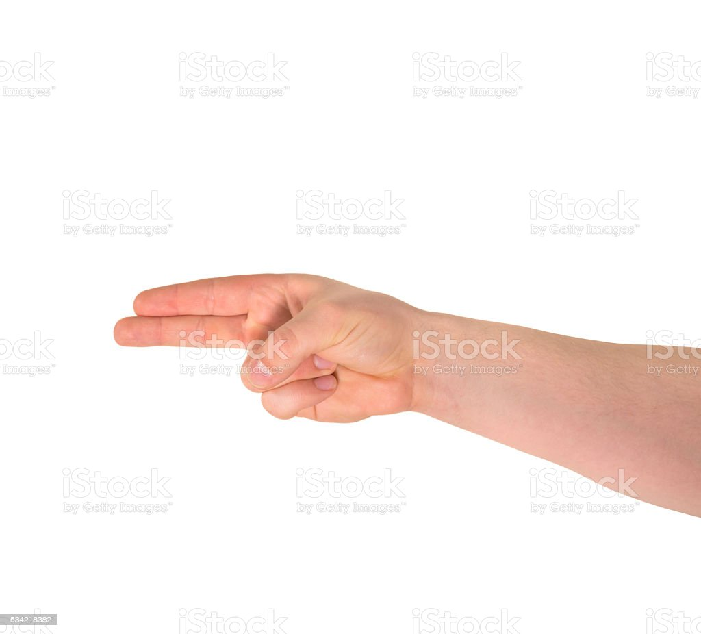 Pointing pistol-like hand gesture isolated stock photo