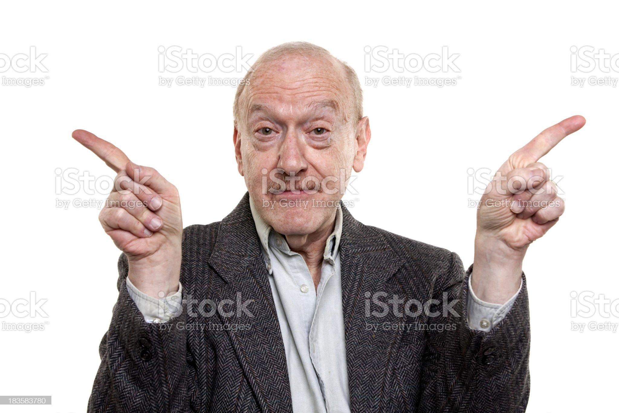 pointing senior man royalty-free stock photo