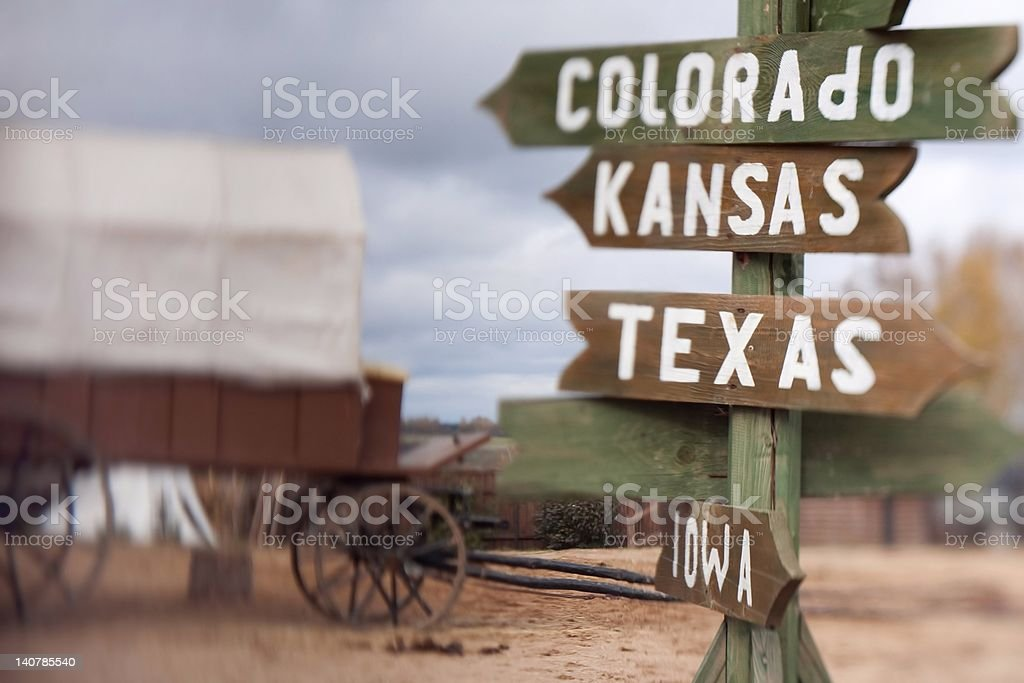 Pointing sign on a post, selective focus effect royalty-free stock photo