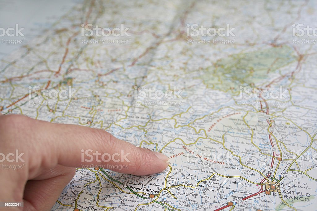 pointing the map royalty-free stock photo