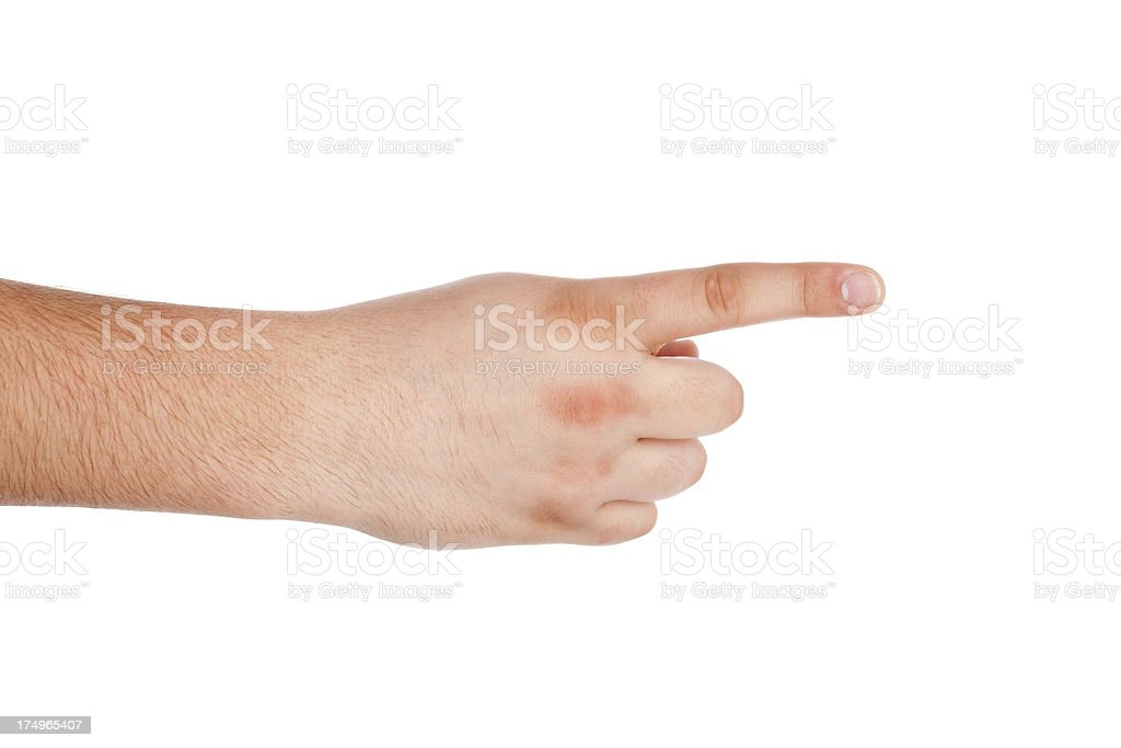 Pointing, touching or pressing hand on white stock photo