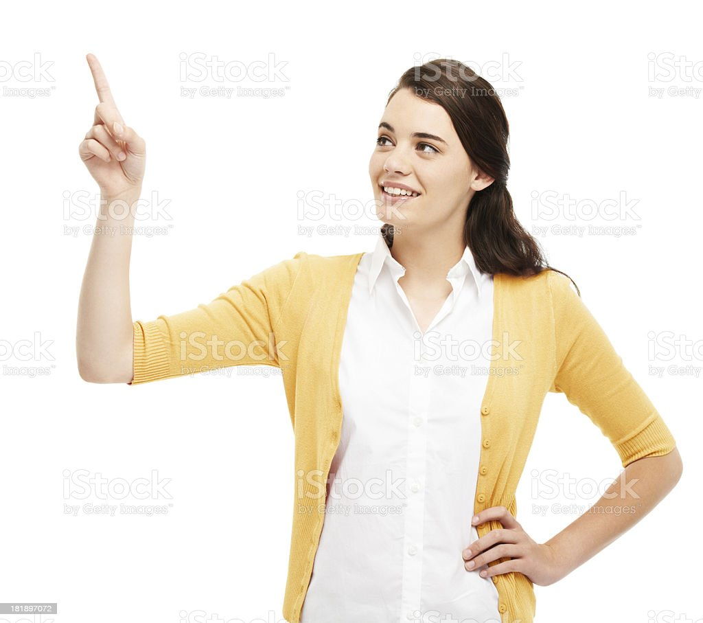 Pointing towards the answer royalty-free stock photo