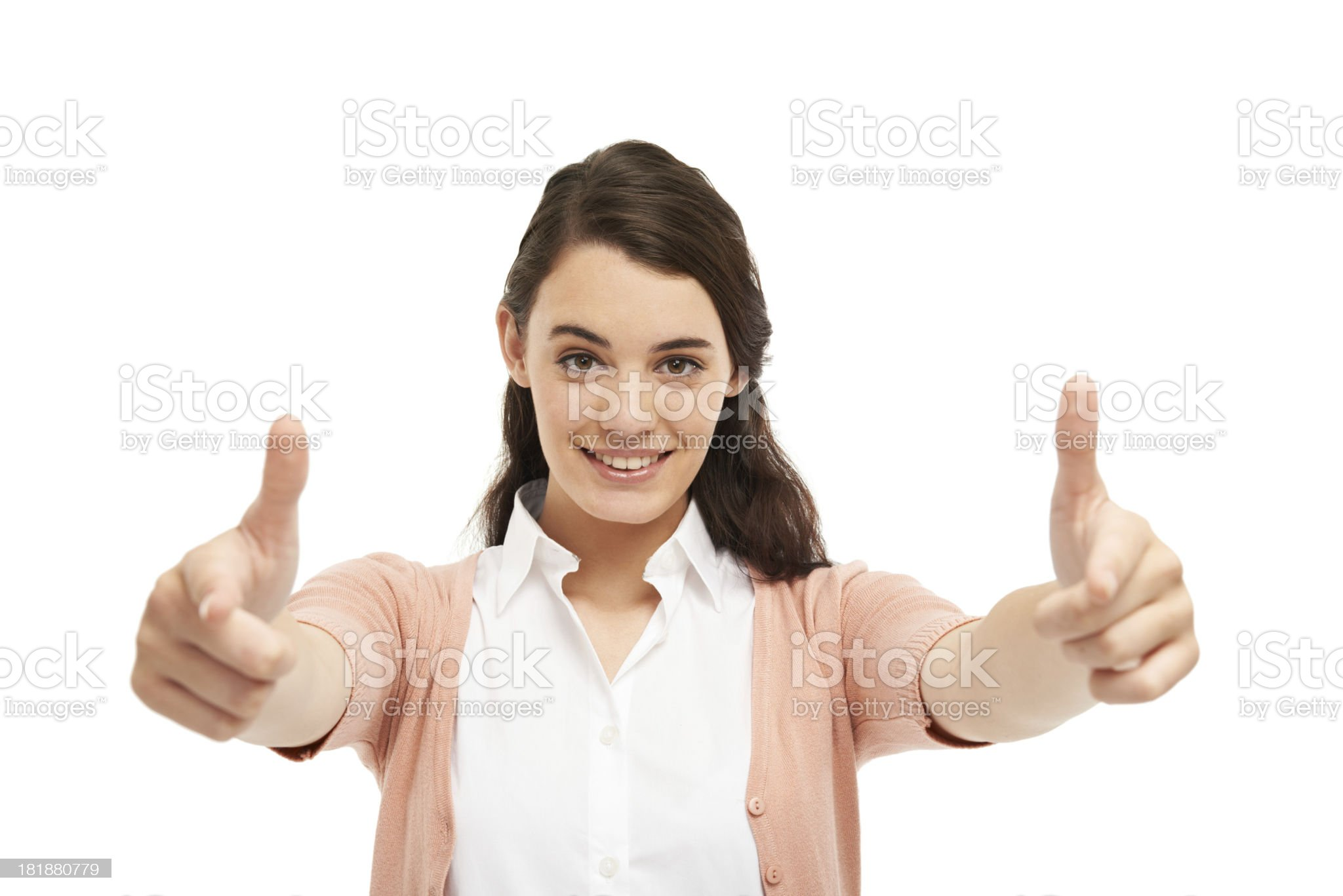 Pointing with confidence royalty-free stock photo