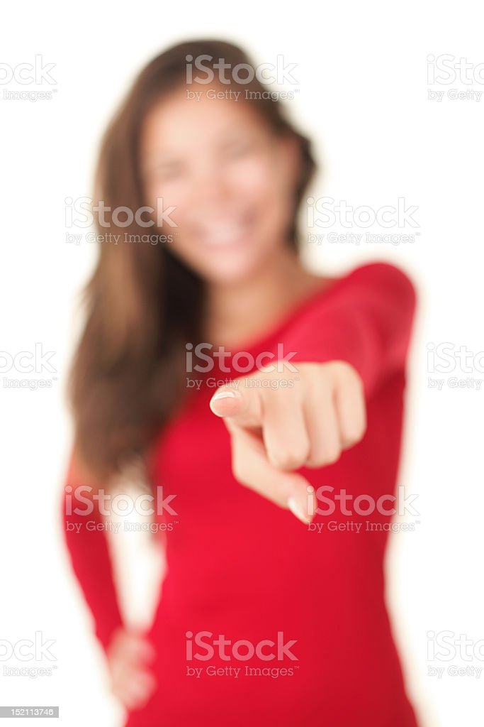 Pointing woman royalty-free stock photo