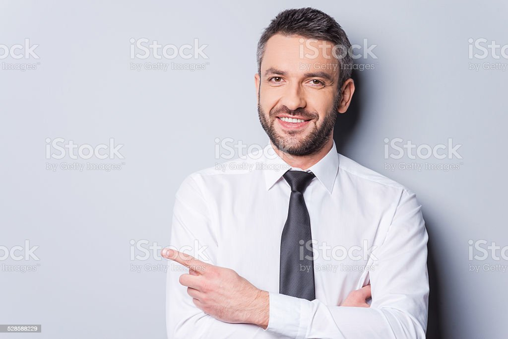 Pointing your product. stock photo