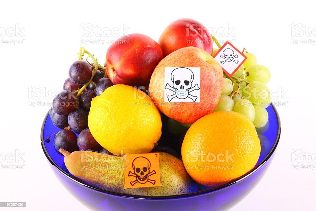 Poisoned fruits stock photo