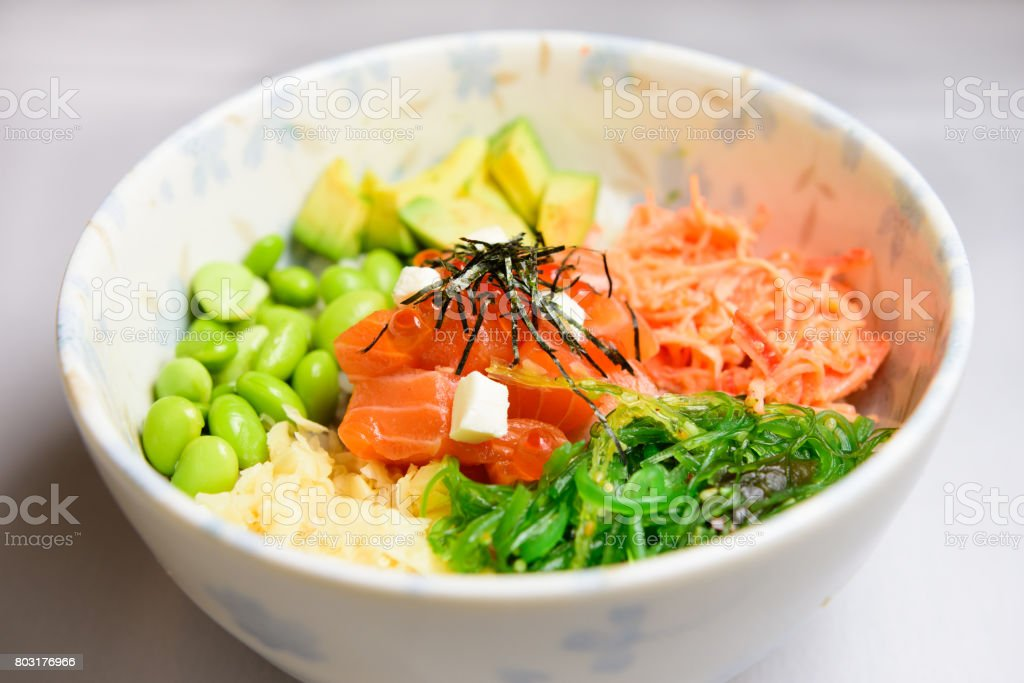 poke bowl stock photo