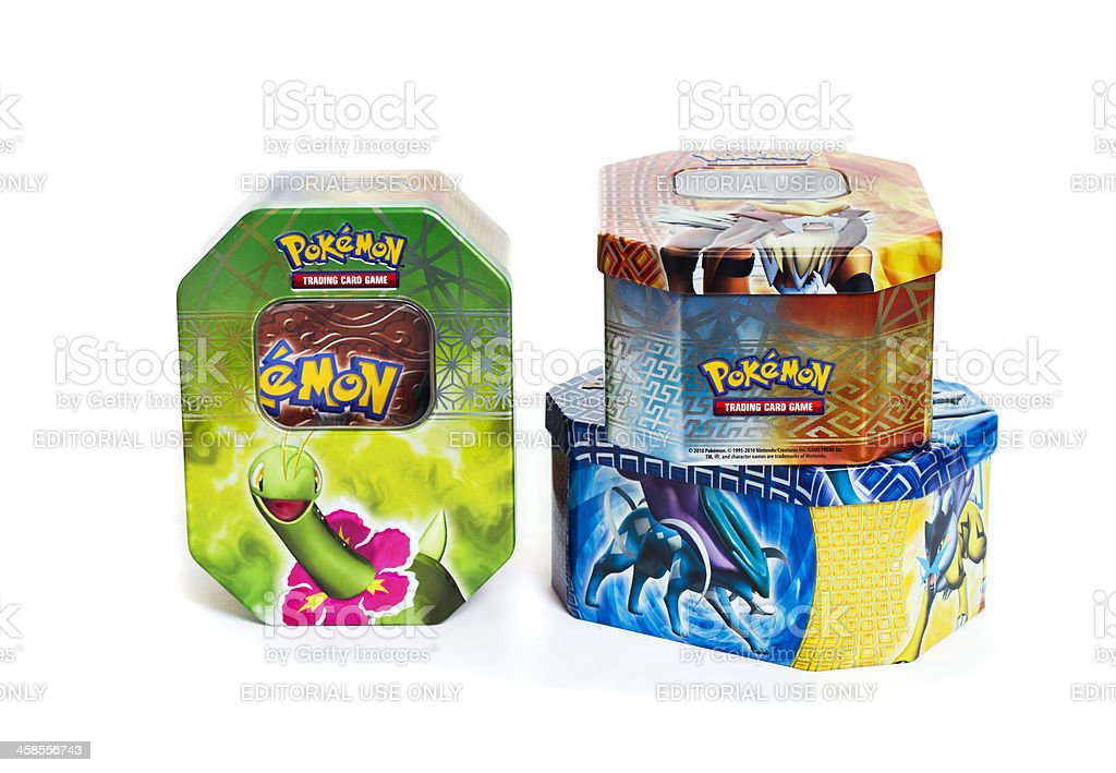 Pokemon Card Tins stock photo