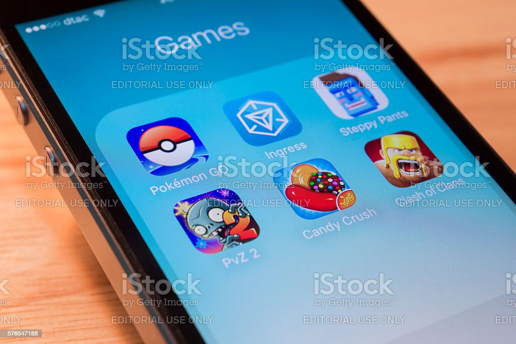 Pokemon Go and other popular game applications stock photo