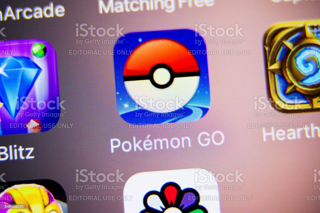 Pokemon Go App Icon on iPhone stock photo