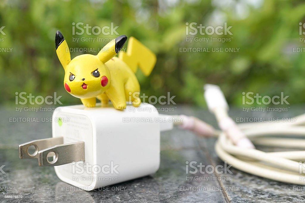 pokemon go game - pikachu electric pokemon stock photo