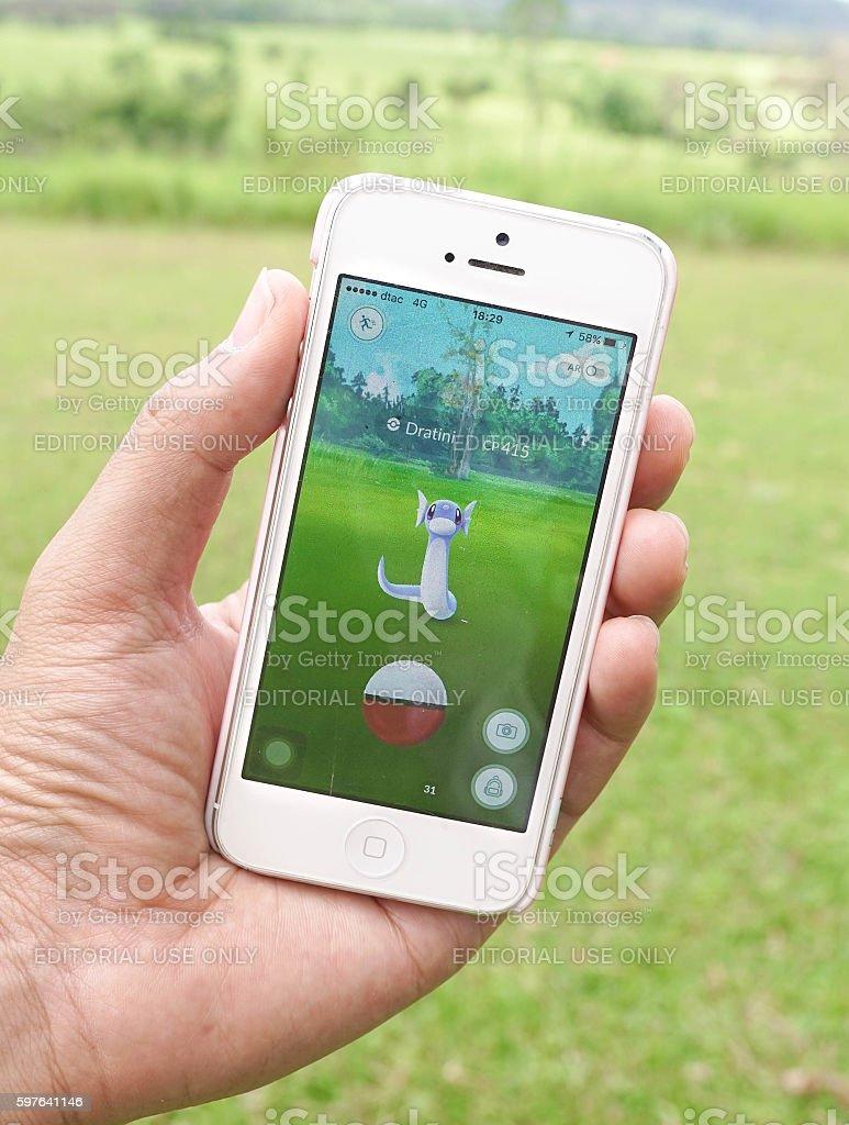 Pokemon Go - Miniryu (dragon pokemon) stock photo