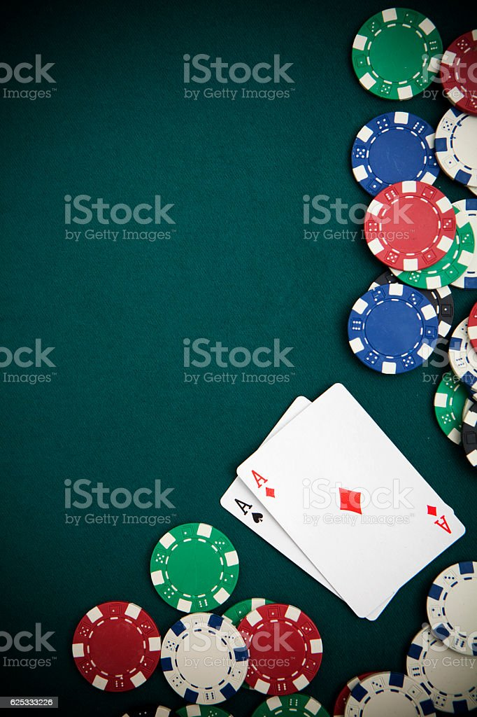 Poker and Chips Felt Background stock photo