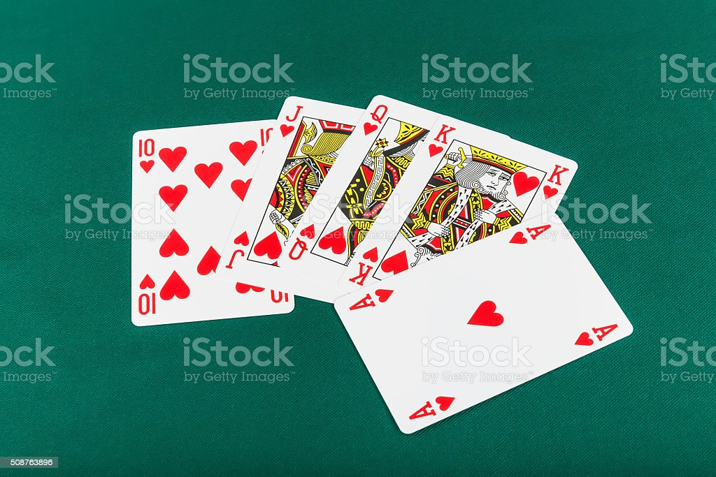 Poker and Chips Green Background stock photo