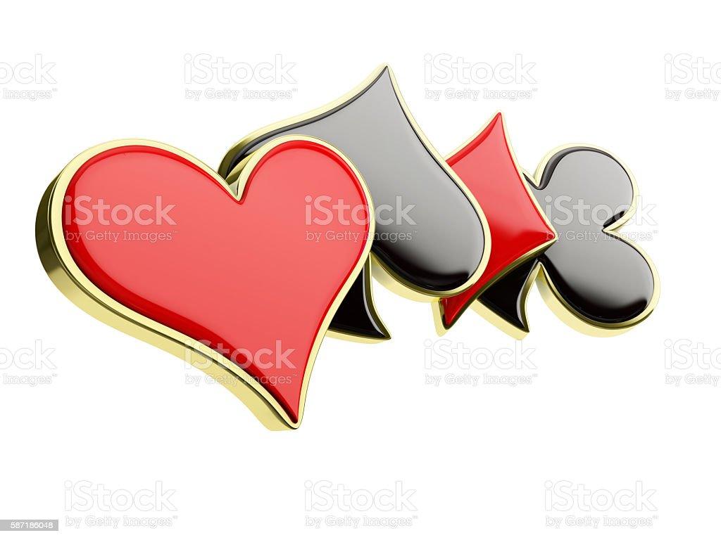 poker card symbols, isolated on white background stock photo