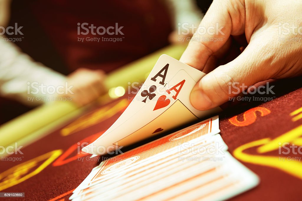 Poker cards ace hand success casino concept stock photo