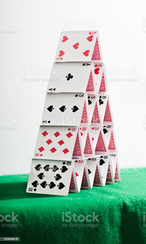 Poker cards castle royalty-free stock photo