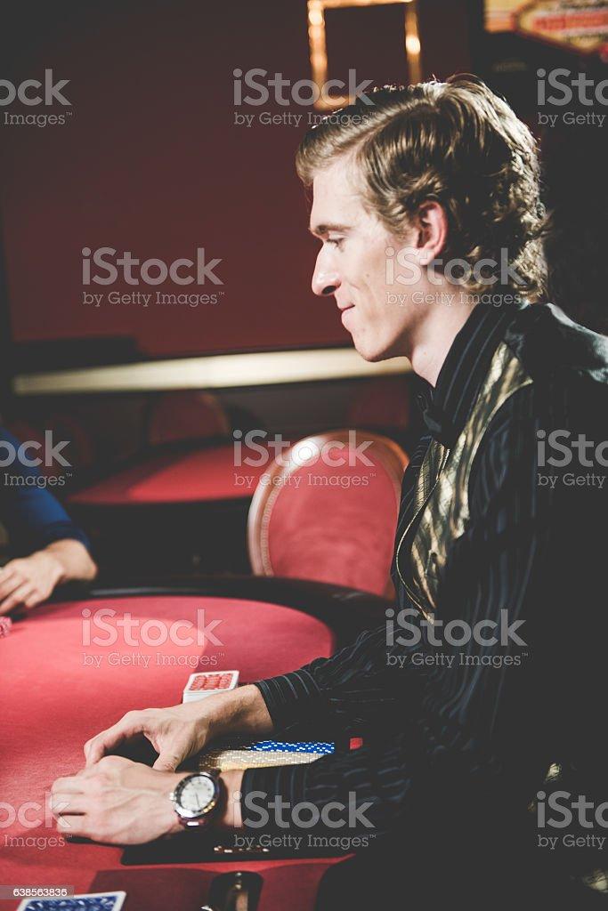 Poker Cards Dealer at the Casino, Portorose, Europe stock photo