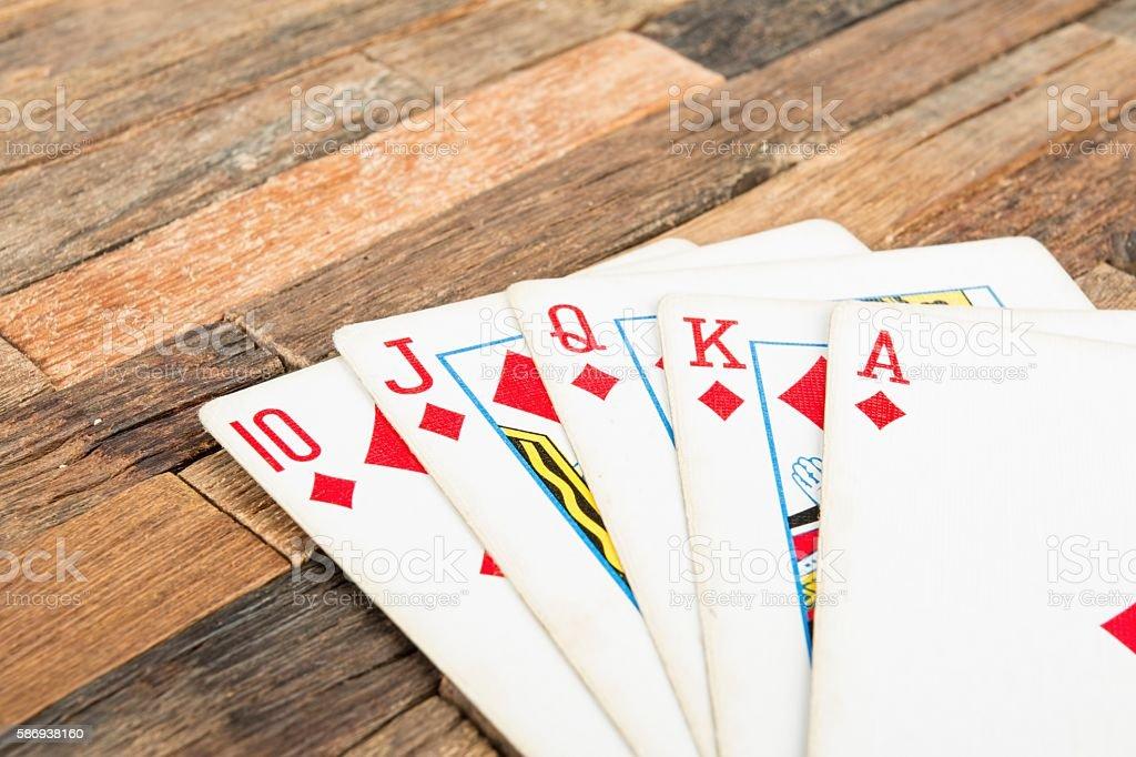 Poker cards, Royal flash stock photo