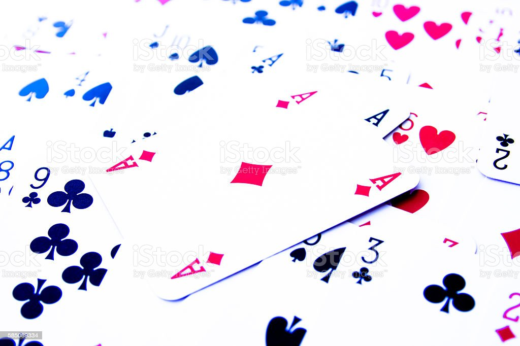 Poker cards scattered stock photo