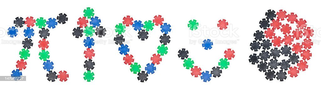 XXXL Poker Chip Arranged in Symbols Including Pi and Yin-Yang royalty-free stock photo