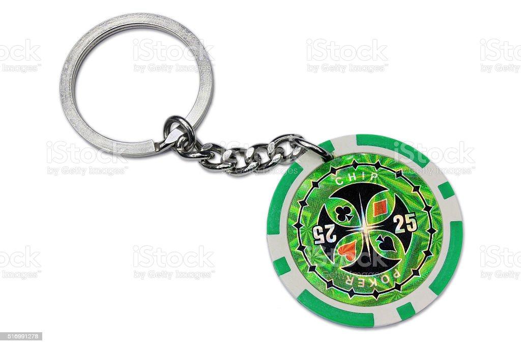 Poker chip key ring stock photo